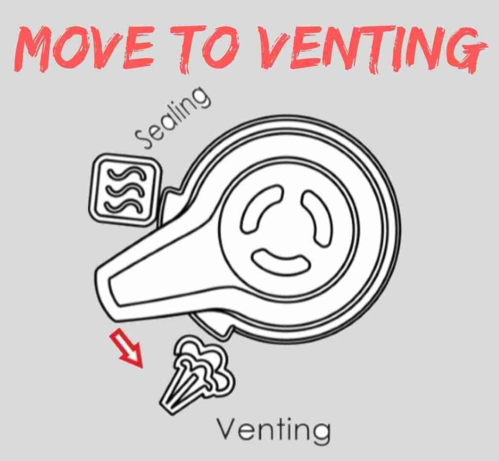 move valve to venting direction